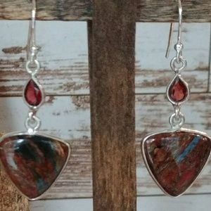 Jewelry - Rare Pietersite & Garnet Earrings